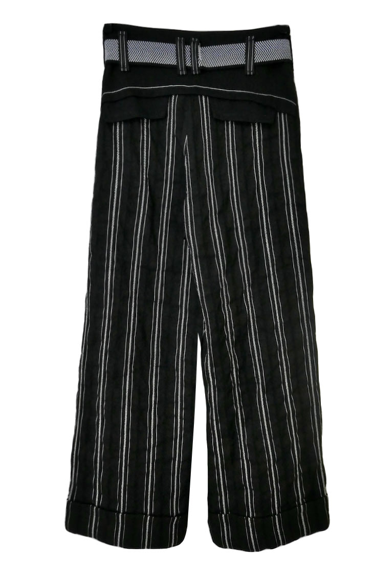 STRIPED LINEN Cropped Pant
