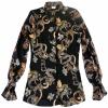 Desoto Shirts Dragon Print Pia sheer sleeve blouse