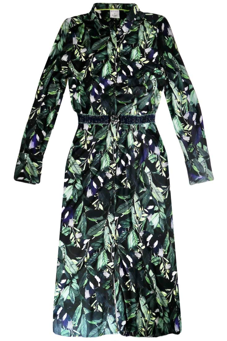 LEAF Print Long Shirt Dress