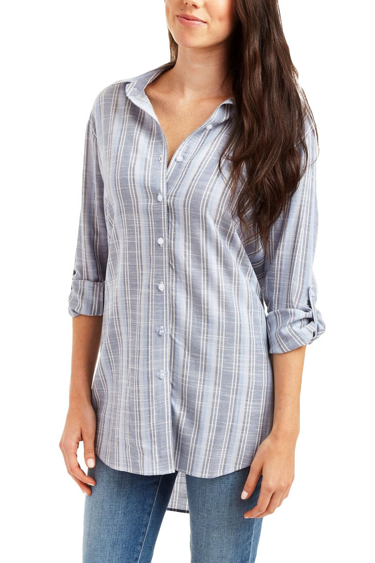 CASSIDY Striped Button Front Blouse