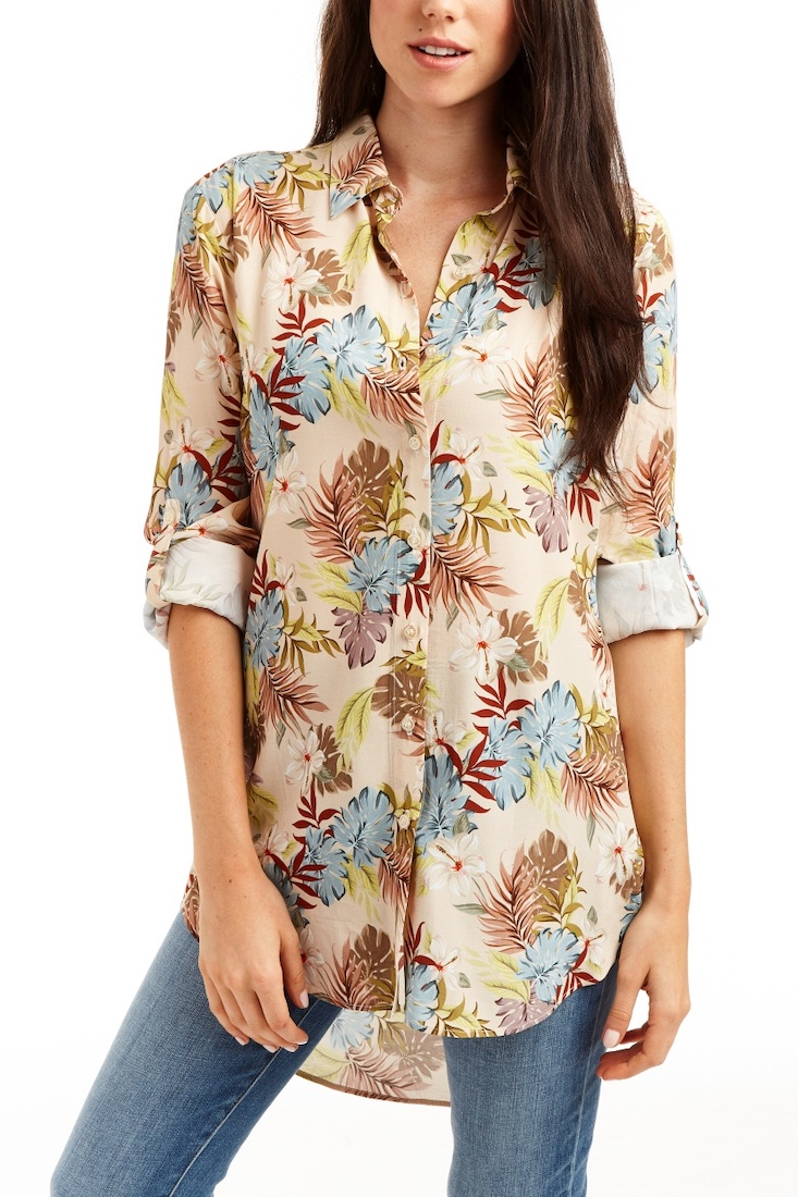 CASSIDY Floral Button Front Blouse
