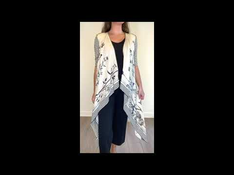 FLORAL Linen Draped Cardigan