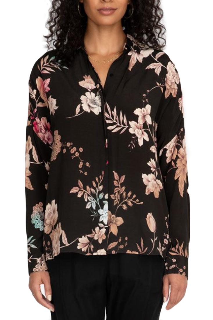 TAOS Floral Button Down Blouse